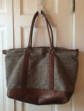 L L Bean LL Bean Town And Country Leather And Tweed Tote Shopper Bag Carry On