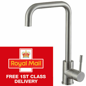 Brushed Stainless Steel Kitchen Sink Tap Mono Swivel Single Lever Mixer Taps
