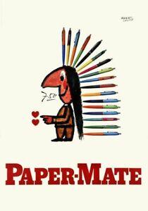 Original vintage poster PAPER-MATE PEN Herbert Leupin linen-backed