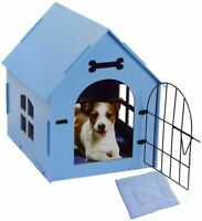 Wood Dog House W/ Mat - Wooden Pet House - Wood Puzzle Dog House - Blue