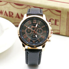Fashion Women Leather Band Stainless Steel Quartz Analog Wrist Watch 10 Color US