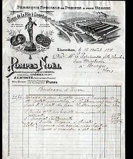 """LIVERDUN (54) USINE de LA FLIE / POMPES """"POMPES NOEL / J. LACOSTE Administ"""" 1921"""