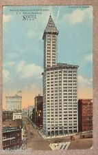 L.C. Smith Building 2nd Ave 1920s Seattle WA Old Cars & Trolley Postcard See!