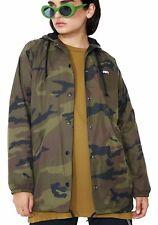 Obey Dominance Hooded Coach Jacket Khaki Size XXS UK 8 rrp £75 DH170 HH 18