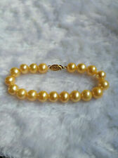 "stunning 7.5-8""  AAA+ 9-10mm natural south sea gold pearl bracelet  14k Gold"