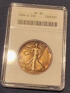 1934 S WALKING LIBERTY SILVER HALF DOLLAR ANACS VF 30 COLOR TONED it's better!!