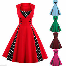 S-4XL Plus Ladies 1950s Vintage Swing ROCKABILLY Dress Pinup Housewife Polka Dot