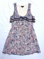 AS NEW Bluejuice Size 12 Dress Pastel Print Sleeveless Ruffle Tea Mini Casual