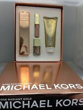 MICHAEL KORS ROSE RADIANT GOLD 4 PIECES:3.4 Spray,3.4 Lotion,Lip Luster,Nail Lac
