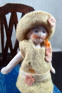 "Antique 1920s German 3"" FLAPPER GIRL DOLL Dollhouse Size"