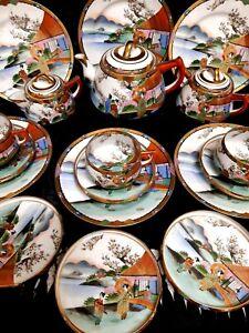 ANTIQUE JAPANESE  SOHO CHINA SATSUMA HAND PAINTED 21 Pc.TEA SET 1930s PERIOD