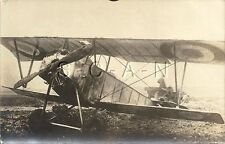 WWI German RPPC- Airfield- Airplane- French Biplane- Ready For Action- 1914-18