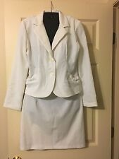 Breakin' Loose Two-Piece Skirt and Blazer Jacket Suit, White, Size 5/6