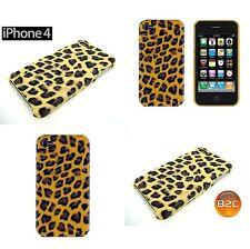 Schutzhülle für iPhone 4, 4S Hard schale Leopard Optik Handyhülle in Gelb Braun
