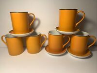 Lot of 10 Lagardo Tackett for Schmid Porcelain Orange Sake Tea Cups & Saucers!