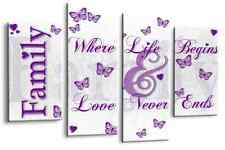 """Family Quote Art Picture White Purple Love Home Canvas Wall Print 44"""""""
