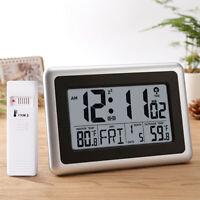 LCD Display Digital Atomic Wall Desk Clock Indoor Outdoor Temperature Snooze US