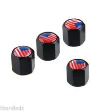 4x USA United States US Flag Metal Valve Stem Covers Tire Caps Black Screw-On