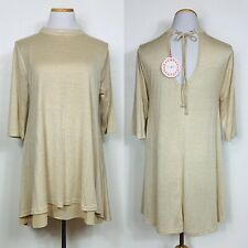 Umgee Boho Festival Baby Doll Tunic Top Dress Taupe Size Large Anthropology