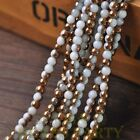 New 200pcs 4mm Round Glass Loose Spacer Beads Porcelain White Half Bronze