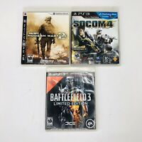 PlayStation 3 PS3 Call Of Duty 2 Modern Socom 4 Battlefield 3 Limited Game Lot