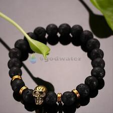 Mens Women Golden Skull/Black Lava Rock Beaded Shamballa Stretch Energy Bracelet