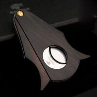 COHIBA Natural Wood Cigar Cutter Stainless Steel Double Blades Cut Cigar Scissor