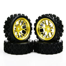 4 X Rubber Tyre Wheel Rim DHG For RC 1:10 Rally Racing Off Road car 12mm Hex