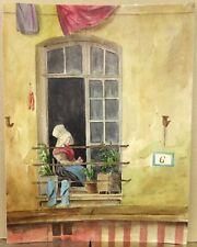 Jolie Aquarelle XIXe Femme à la Fenêtre 1820-30