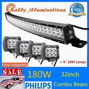 """32"""" 180W Curved LED Light Bar Combo Fog Driving+4X 4"""" 18W Offroad Spot Work Lamp"""