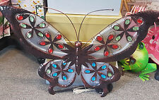 METAL BUTTERFLY WITH SOLAR LIGHT WALL DECOR ART HOME DECOR   ~ GIFT IDEA ~