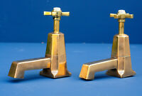 Vintage ART DECO Shanks bath taps - HUGE - solid brass - genuine antique faucet