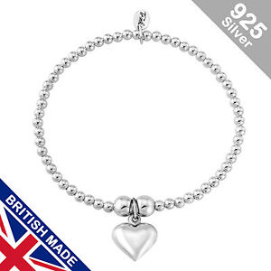 Trink Heart of Silver Sterling Silver Beaded Charm Bracelet Stretch Elastic