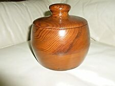 "HANDMADE Trinket Box Wood Bowl Jar w Lid Storage Solid Wood 6"" Tall"