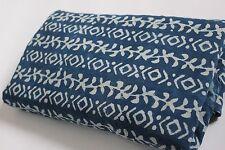 5 Yard Natural Indigo Blue Dye Shibori Printed Cotton Dabu Print Dress Fabric**
