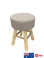 SCANDO STOOL BEIGE FABRIC SEAT CHAIR, OTTOMAN TIMBER LEGS, 28 X 28 X 40 CM