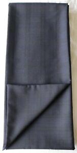 "Scarf Cravat 62"" x 6"" Dark navy Plaid. Hand made 100% wool Dormeuil suit fabric"