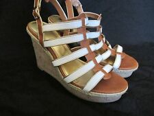 WOMEN'S MOSSIMO FAUX LEATHER/CORK STRAPY WEDGE OPEN-TOE CAMEL BROWN/WHITE SZ 9.5
