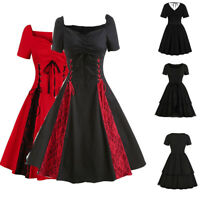 Womens Short Sleeve Gothic Lace Rockabilly Dinner Party Prom Swing Punk Dresses
