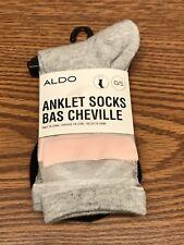 Aldo 2 Pack Women's Pink Gray Black White Anklet Socks One Size Fits All O/S