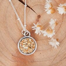 Round pendant necklace womens boho resin drusy druzy sparkle silver chain gold