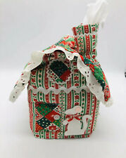 Vintage Quilted Fabric Handmade Christmas House CottageTissue Box Cover