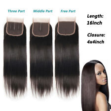 "100% Brazilian Virgin Human Hair 4""x4"" Lace Frontal Closure Bleached Knot 5Color"