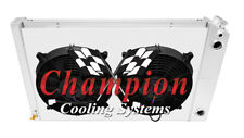 "3 Row RS Radiator 17x26"",12"" Fans,Shroud,1 1/2,1 1/2""-1970-1981 Camaro LS Swap"
