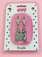 Beagle-2 Piece Clip On Charm For Pets And People-Collars Leashes Bags Keychain