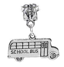 School Bus Children Teacher Kids Dangle Charm for European Bead Slide Bracelets