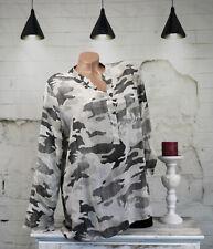 Damen Bluse Hemd Langarmshirt Camouflage  Print beige  schzwarz one size