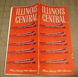 1961 ILLINOIS CENTRAL RAILROAD RR Time Table Brochure - Main Line of Mid-America