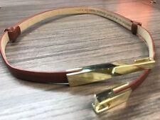 Steve Madden Adjustable Skinny Belt Brown & Gold Faux Leather Womens retails $38