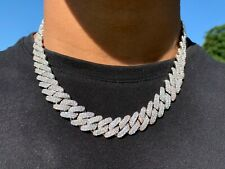 12mm Iced Cuban Link Prong Chain Necklace 2 Row Diamond 925 Sterling Silver